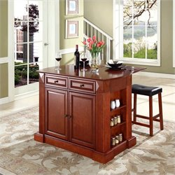 Crosley Furniture Coventry Drop Leaf Breakfast Bar Kitchen Island with Stools in Cherry