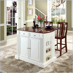 Crosley Coventry Drop Leaf Breakfast Bar Island with Stools in White
