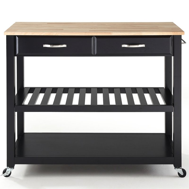Crosley Kitchen Cart Island Natural Wood Top in Black
