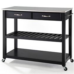 Crosley Kitchen Cart Island Stainless Steel Top in Black