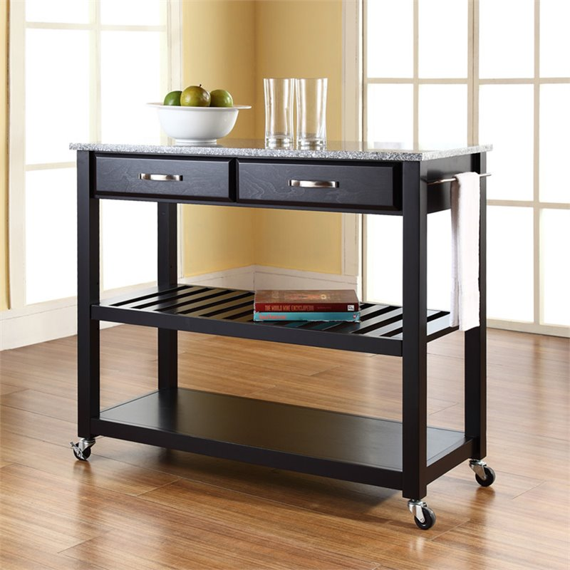 Crosley Kitchen Cart Island Solid Granite Top In Black