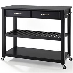 Crosley Kitchen Cart Island Solid Black Granite Top in Black