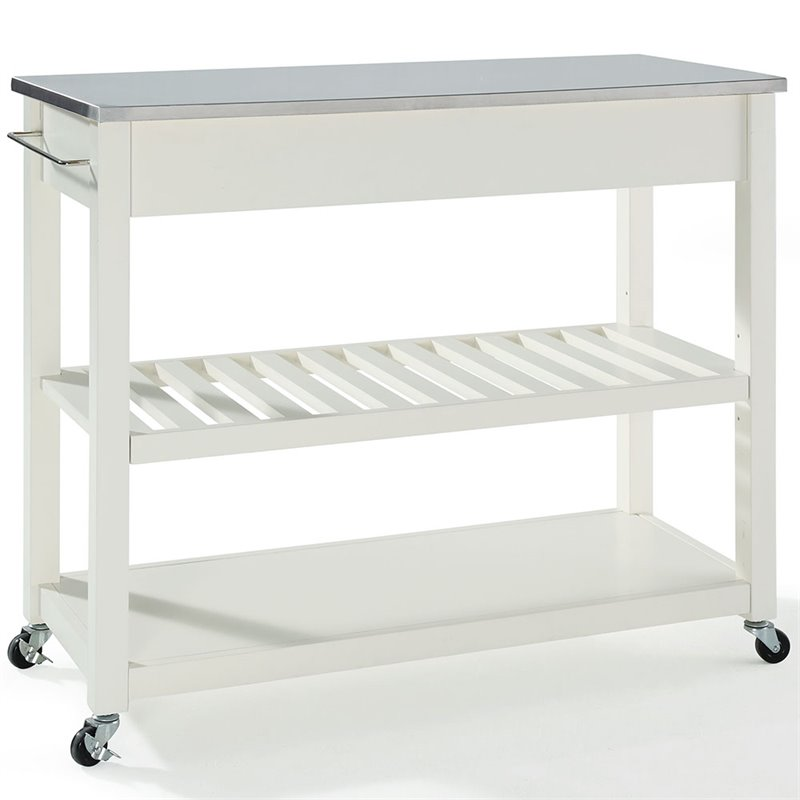 Crosley Kitchen Cart Island Stainless Steel Top in White