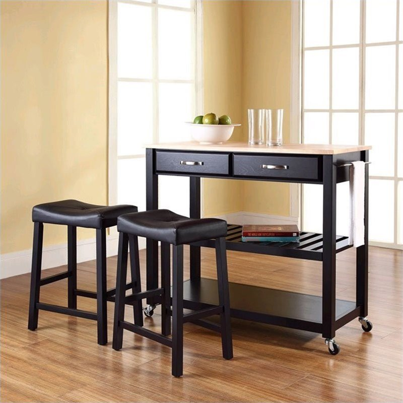 Crosley Natural Wood Top Kitchen Cart Island With Stools In Black Kf300514bk