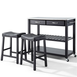 Crosley Stainless Steel Top Kitchen Cart/Island with Stools in Black