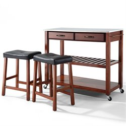 Crosley Furniture Stainless Steel Top Kitchen Cart/Island with Stools in Classic Cherry