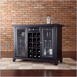 Crosley Newport Sliding Top Bar Cabinet in Black