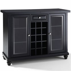 Crosley Cambridge Sliding Top Bar Cabinet in Black