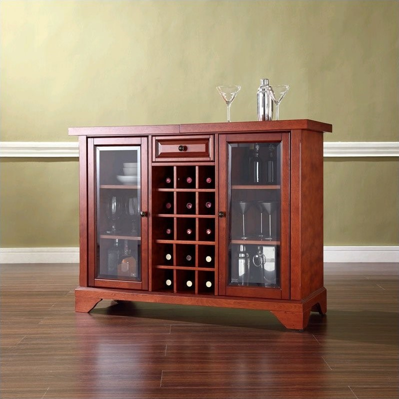 Crosley LaFayette Sliding Top Home Bar Cabinet in Classic Cherry