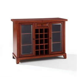Crosley Newport Sliding Top Bar Cabinet in Classic Cherry