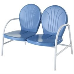 Crosley Griffith Metal Loveseat in Sky Blue