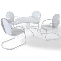 Crosley Furniture Griffith 5 Piece Metal Patio Dining Set in White