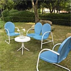 Crosley Griffith 4 Metal Outdoor Seating Set in Sky Blue