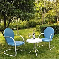 Crosley Griffith 3 Metal Outdoor Seating Set in Sky Blue
