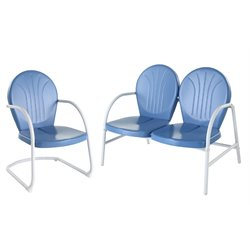 Crosley Griffith 2 Metal OutdoorConversation Seating Set in Sky Blue