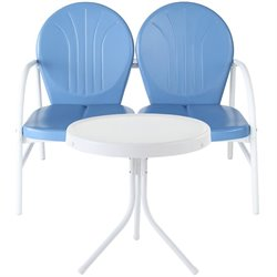 Crosley Griffith 2 Metal Outdoor Seating Set in Sky Blue