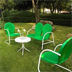 Crosley Griffith 4 Metal Outdoor Seating Set in Grasshopper Greeen