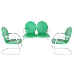 Crosley Griffith 3 Metal Outdoor Seating Set in Grasshopper Green