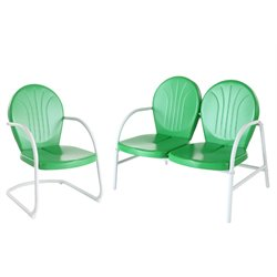 Crosley Griffith 2 Metal Outdoor Seating Set in Grasshopper Green