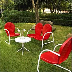 Crosley Griffith 4 Metal Outdoor Seating Setin Red