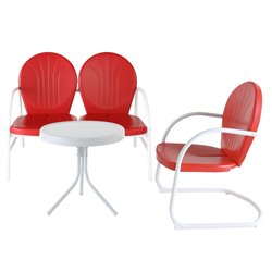 Crosley Griffith 3 Metal Outdoor Seating Set in Red