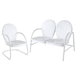 Crosley Griffith 2 Metal Outdoor Seating Set in White