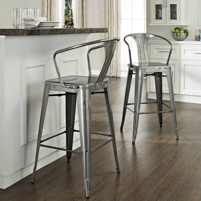 Crosley Furniture Amelia 30 Metal Bar Stool In Galvanized Set Of 2