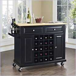 Crosley Furniture Natural Wood Top Wine Cart in Black