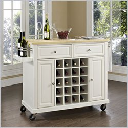 Crosley Furniture Natural Wood Top Wine Cart in White