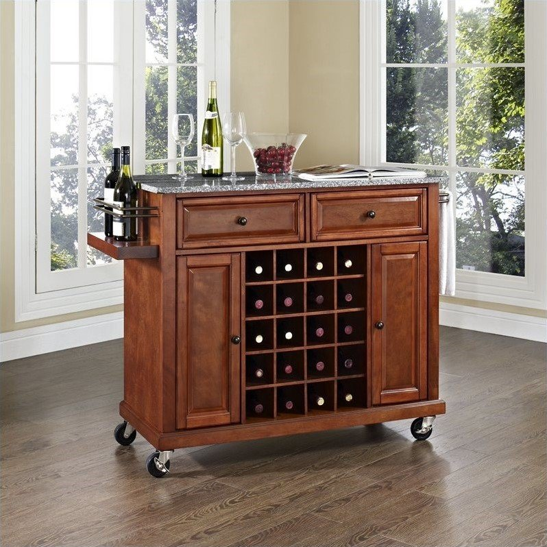 Solid Granite Top Wine Cart in Classic Cherry