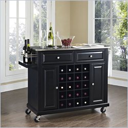 Crosley Furniture Stainless Steel Wine Cart in Black