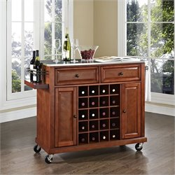 Crosley Furniture Stainless Steel Wine Cart in Classic Cherry