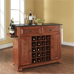Alexandria Solid Black Granite Top Wine Island in Classic Cherry