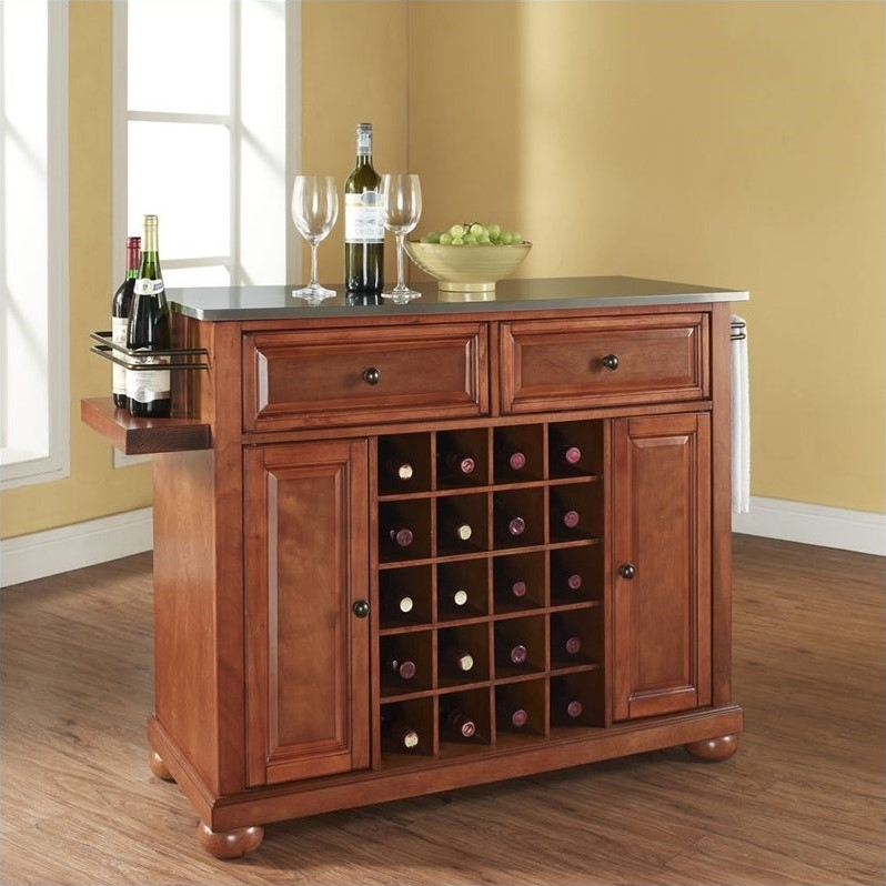 Alexandria Stainless Steel Wine Island in Classic Cherry