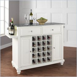Crosley Furniture Cambridge Solid Granite Top Wine Island in White