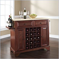 Lafayette Natural Wood Top Wine Island in Vintage Mahogany