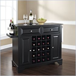 Lafayette Solid Black Granite Top Wine Island in Black