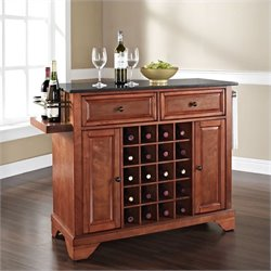 Lafayette Solid Black Granite Top Wine Island in Classic Cherry