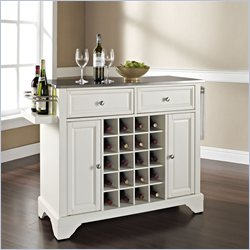 Crosley Furniture Lafayette Stainless Steel Wine Island in White