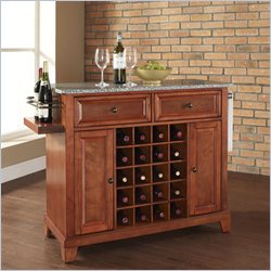 Newport Solid Granite Top Wine Island in Classic Cherry