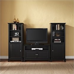 Crosley Newport TV Stand and Two 60 inch Audio Piers in Black Finish - 42 inch