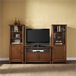 Crosley Cambridge TV Stand and Two 60 inch Audio Piers in Cherry - 42 inch