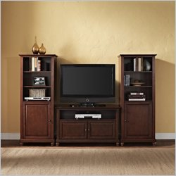Crosley Cambridge TV Stand and Two 60 inch Audio Piers in Mahogany - 42 inch
