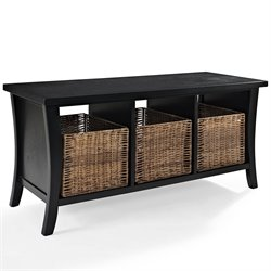 Crosley Wallis Entryway Storage Bench in Black