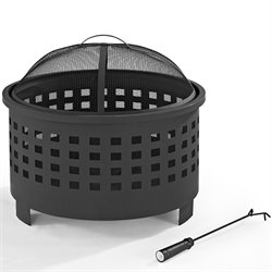 Crosley Hudson Basket Weave Firepit in Black