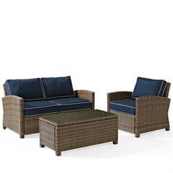 Crosley Bradenton 3 Piece Outdoor Wicker Seating Set with Navy Cushions