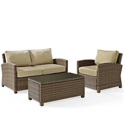 Crosley Bradenton 3 Piece Outdoor Wicker Seating Set with Sand Cushions