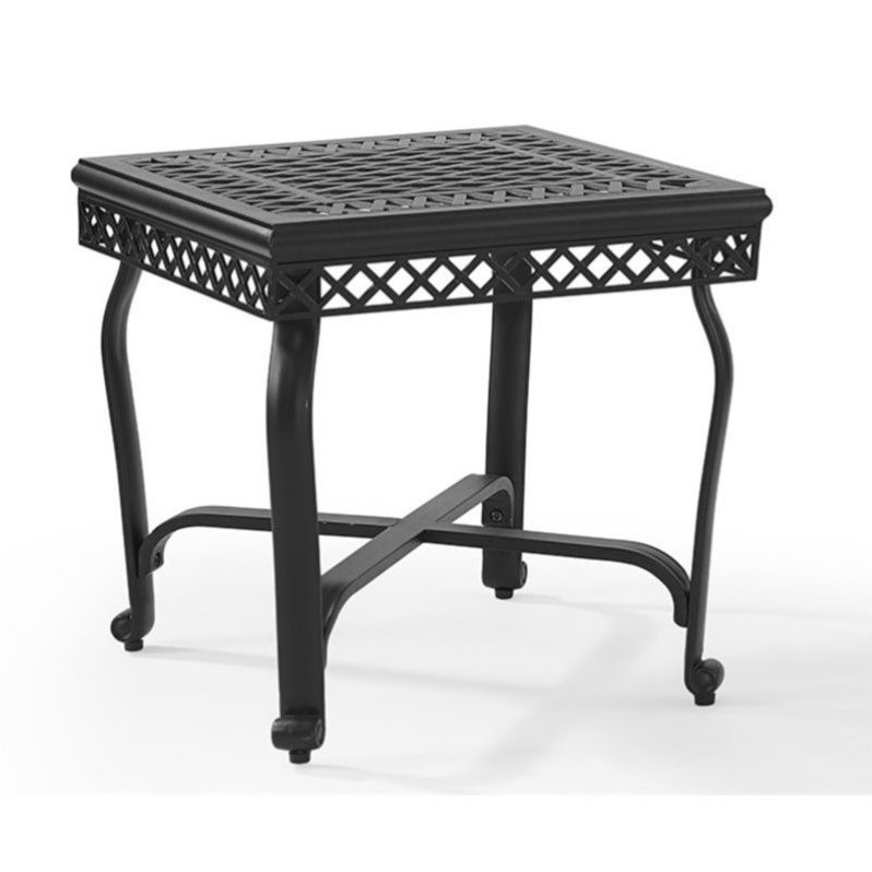 Crosley portofino cast aluminum end table in charcoal for Outdoor furniture end tables