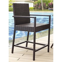 Crosley Palm Harbor Outdoor Wicker Bar Stool in Brown (Set of 2)