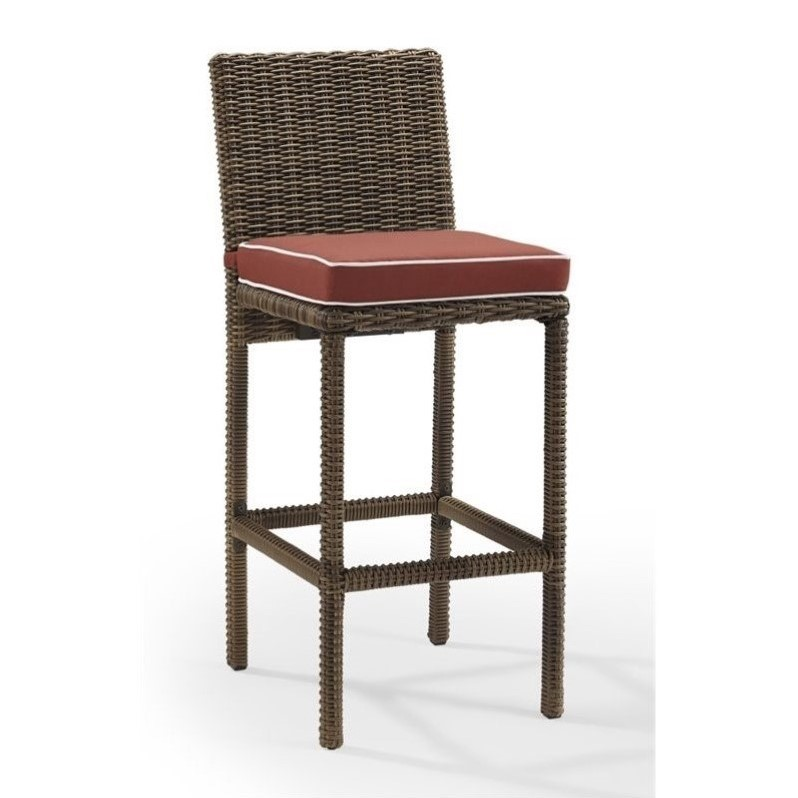 Crosley Bradenton Outdoor Wicker Bar Stool with Cushion  : 654932 1 L from www.cymax.com size 798 x 798 jpeg 69kB